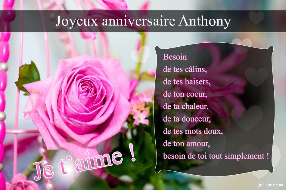 Carte bon anniversaire anthony