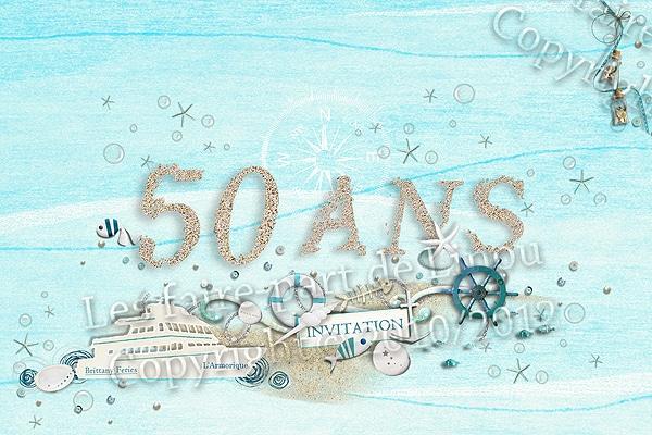 Carte anniversaire theme mer