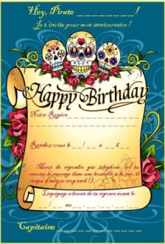 Carte d'invitation anniversaire pirate gratuite à imprimer