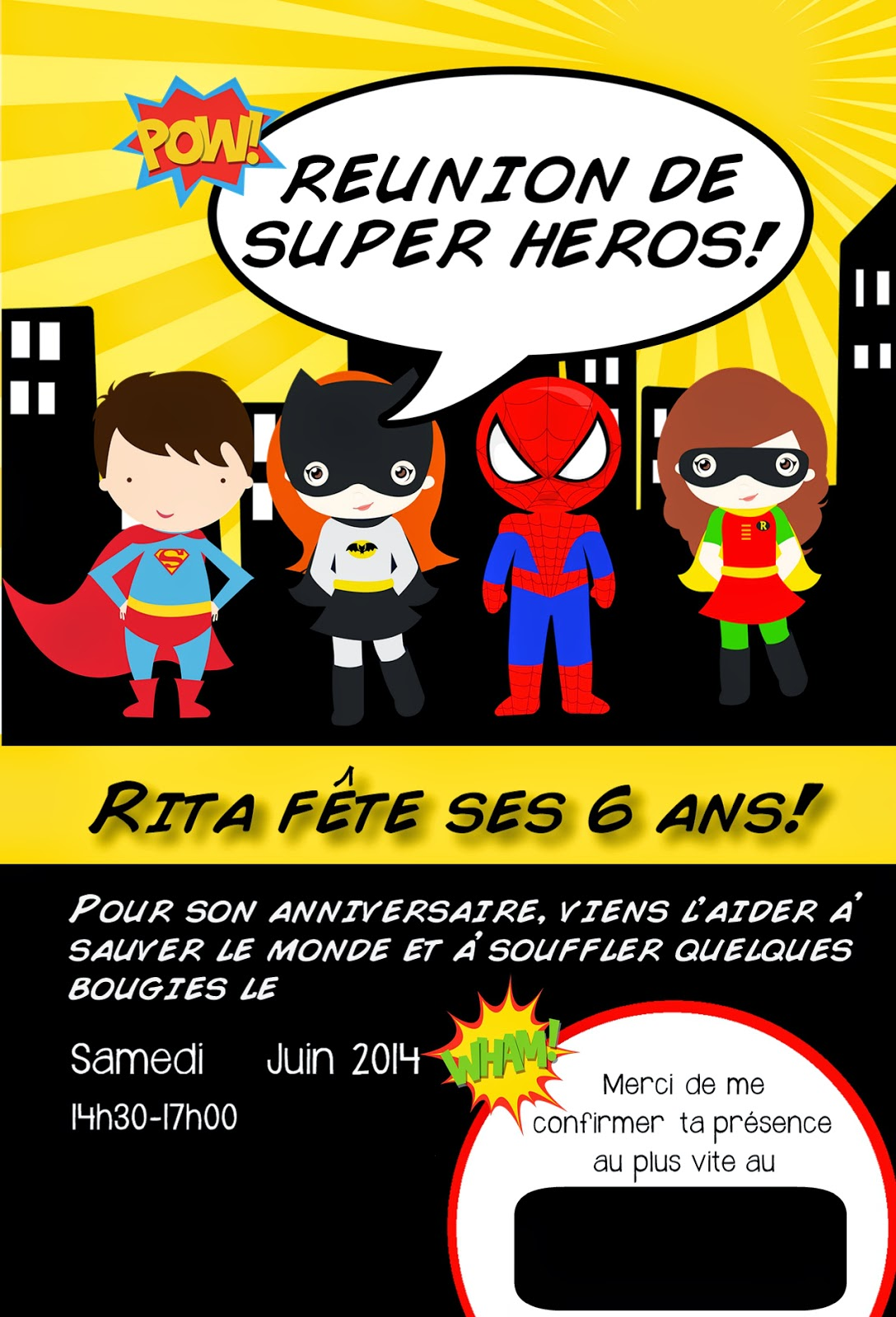 Carte joyeux anniversaire super heros