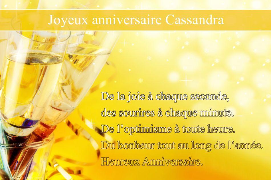 Carte joyeux anniversaire cassandra