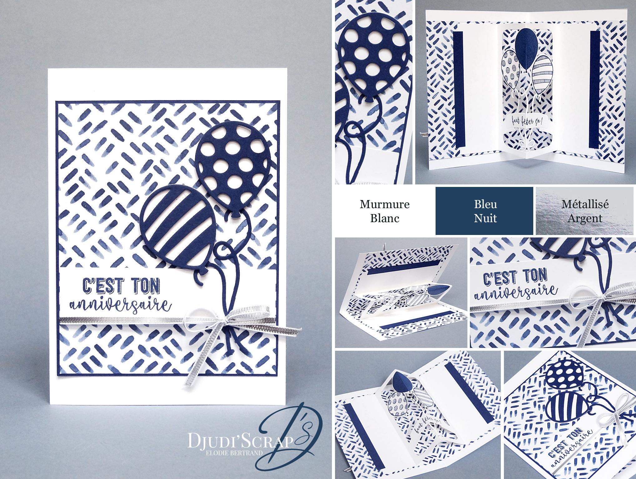 Carte anniversaire bleue et blanc