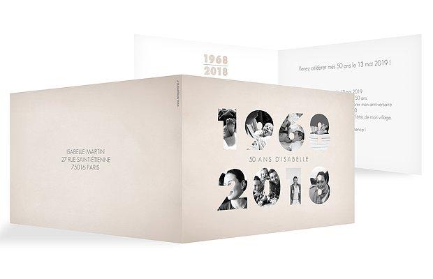 Carte invitation anniversaire 50 ans 1968
