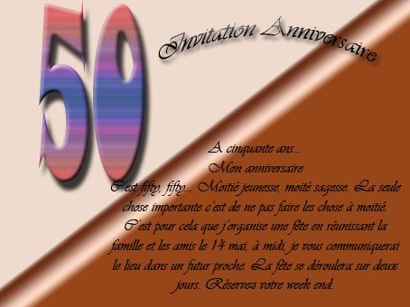 Texte carte d anniversaire 50 ans