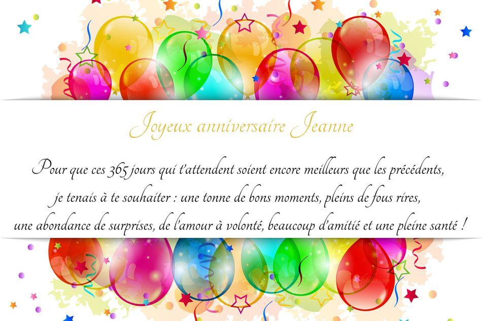 Carte joyeux anniversaire jeanne
