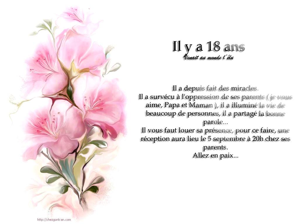 Texte anniversaire 18 ans invitation