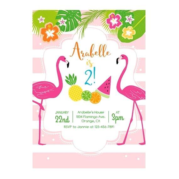 Carte d'invitation anniversaire flamant rose