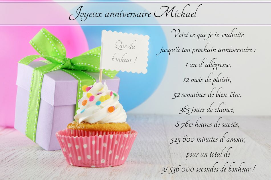 Carte anniversaire michael