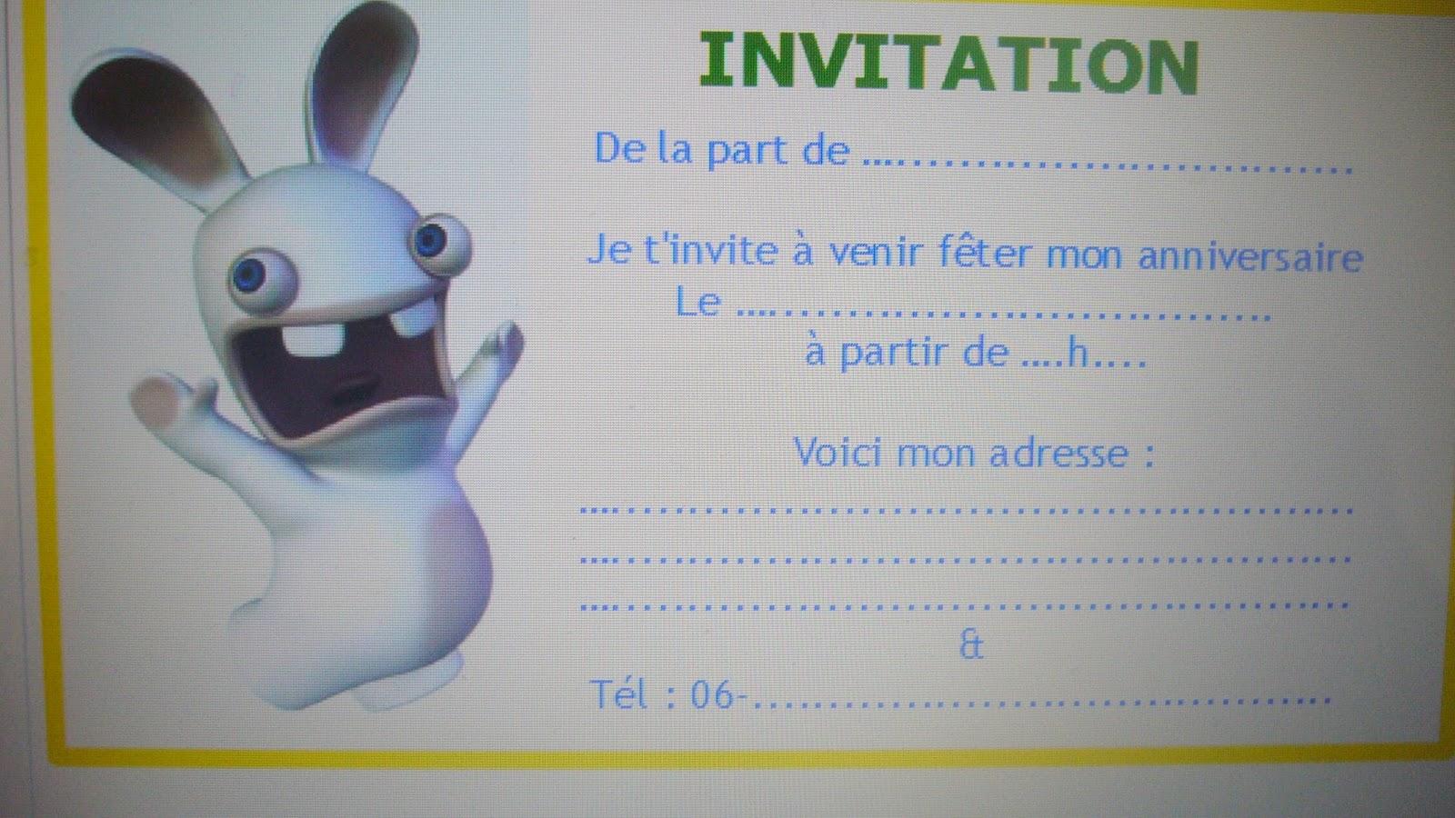 Carte anniversaire lapin crétin à imprimer