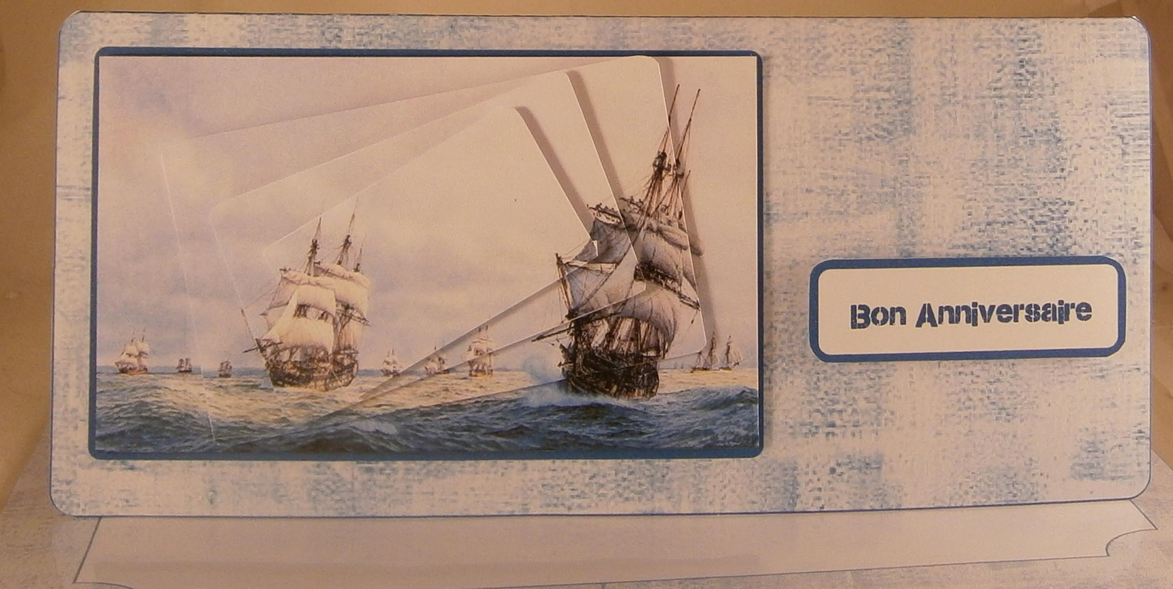 Carte anniversaire avec des bateaux