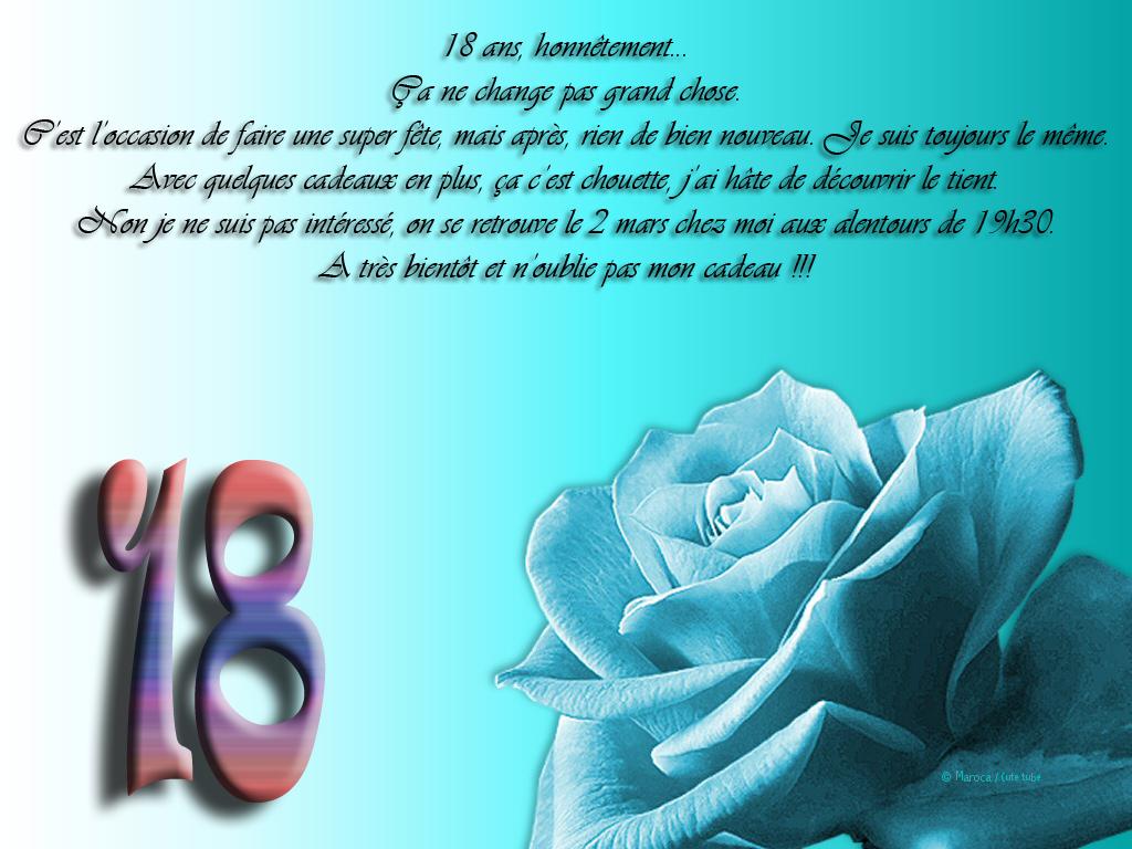 Message invitation anniversaire 18 ans