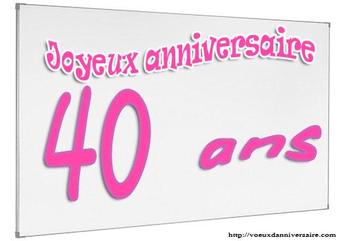 Texte carte anniversaire 40 ans gratuite