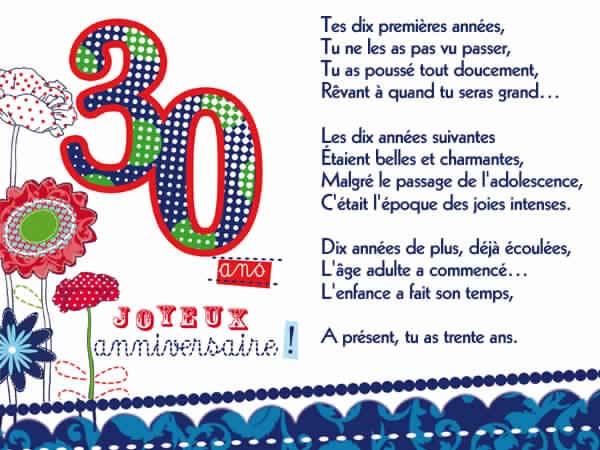 Texte anniversaire 30 ans amie humour