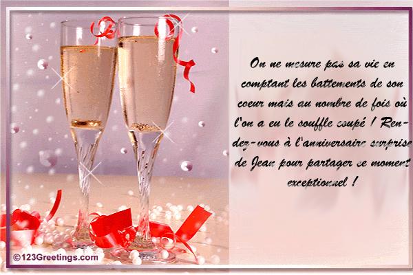 Carte anniversaire gateau et champagne