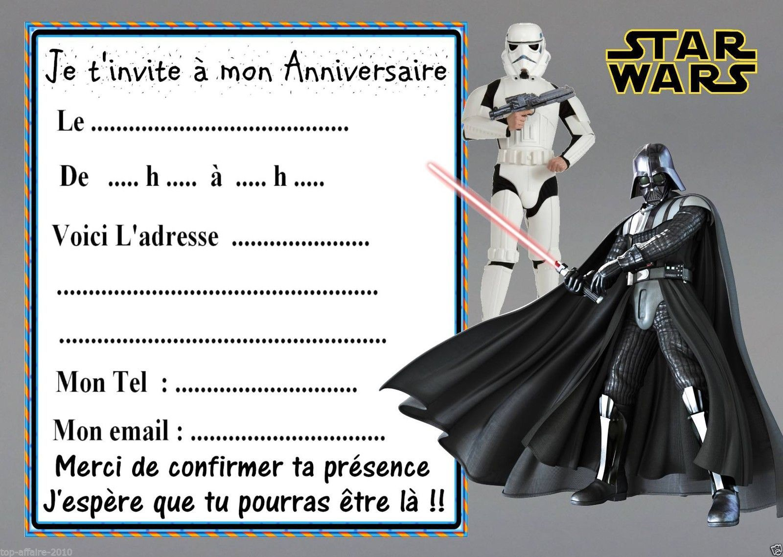 Carte invitation anniversaire star wars 7