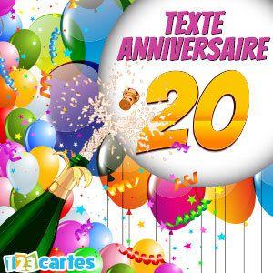 Carte anniversaire texte 20 ans