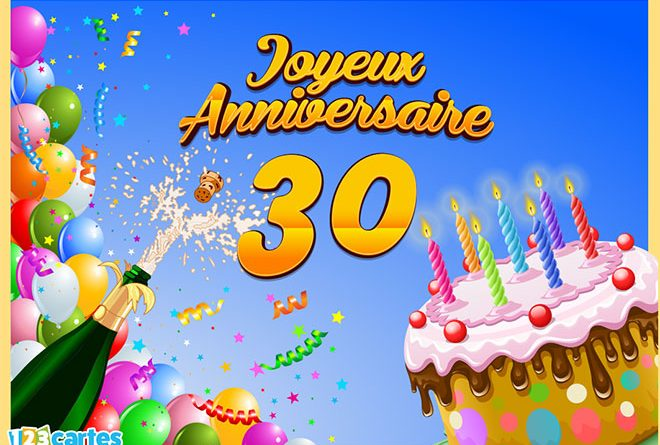 Carte anniversaire 30 ans a imprimer gratuitement