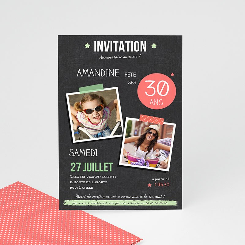 Carte d invitation anniversaire 30 ans