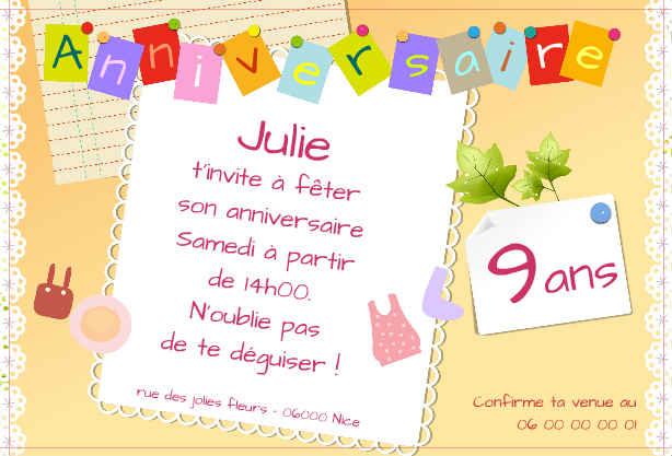 Carte invitation anniversaire fille de 9 ans