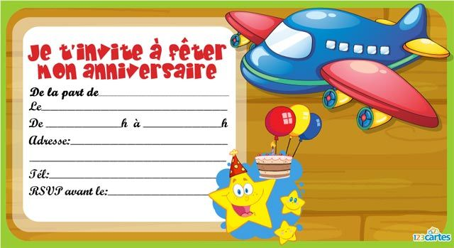 Carte invitation anniversaire avion