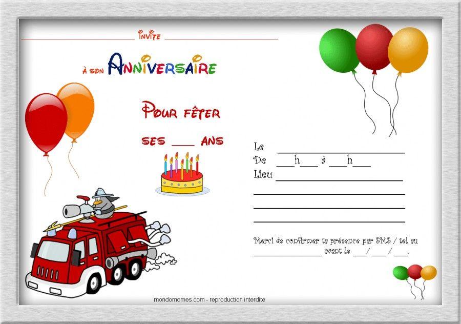 Carte d'invitation anniversaire gratuite à imprimer à colorier
