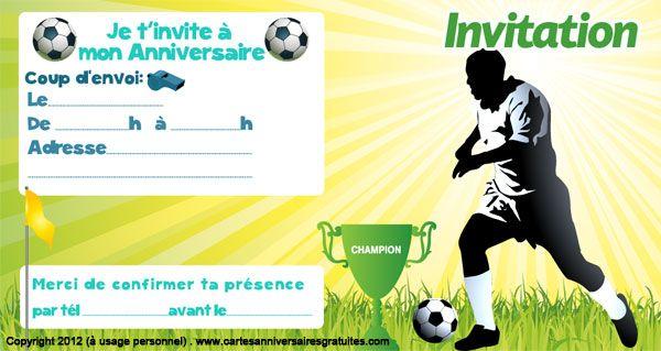 Carte invitation anniversaire sportif