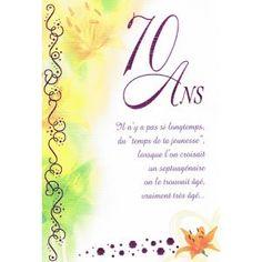 Texte anniversaire 70 ans pour une soeur