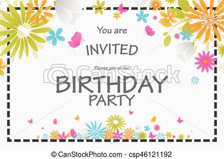 Carte invitation anniversaire fleurs