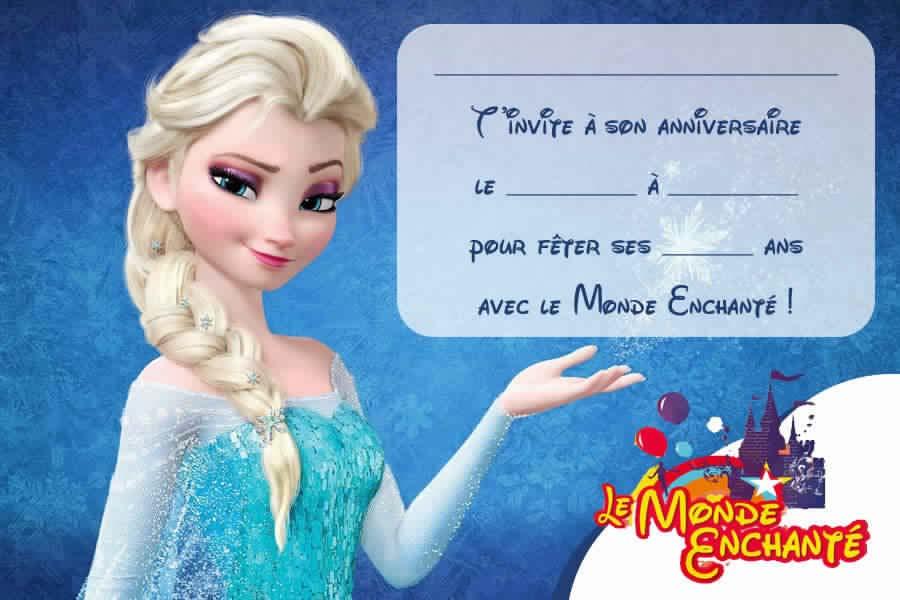 Carte invitation anniversaire fille reine des neiges gratuite
