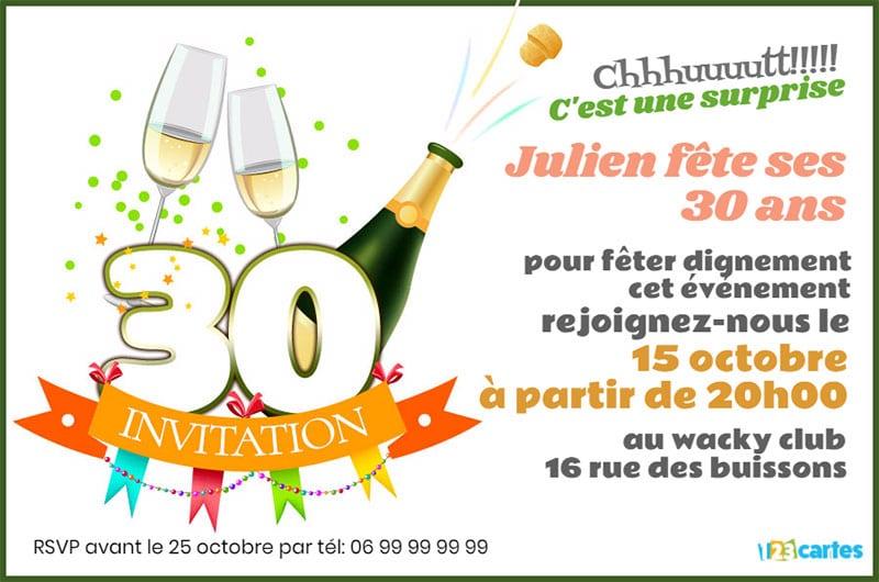 Carte invitation anniversaire adulte 30 ans gratuit