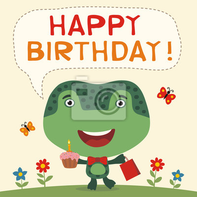 Carte anniversaire grenouille animée