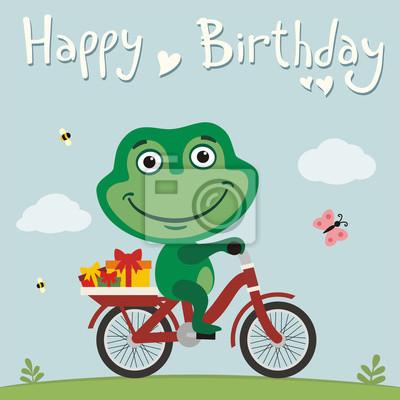 Carte anniversaire avec grenouille