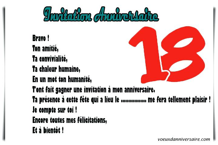Idee message carte anniversaire 18 ans