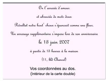 Carton d'invitation anniversaire texte