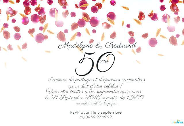 Texte anniversaire mariage 50 ans gratuit