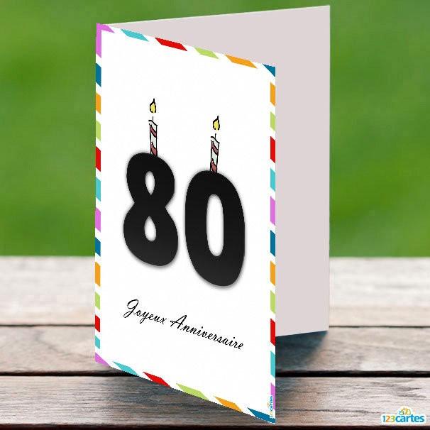 Carte anniversaire 80 ans homme gratuite