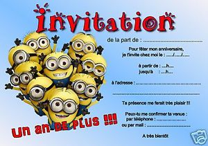 Carte invitation anniversaire gratuite à imprimer minions