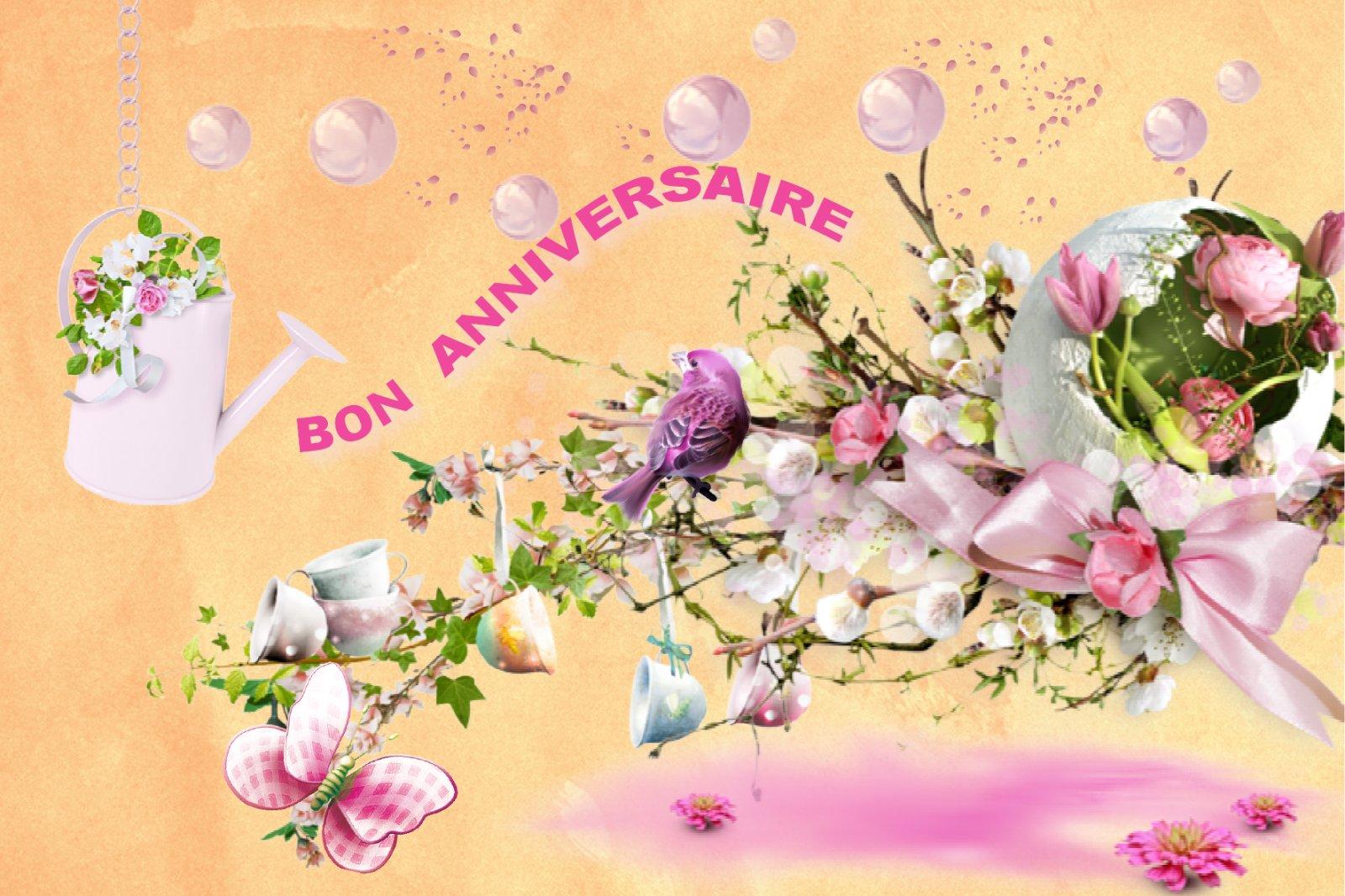 Carte fleurs anniversaire gratuite