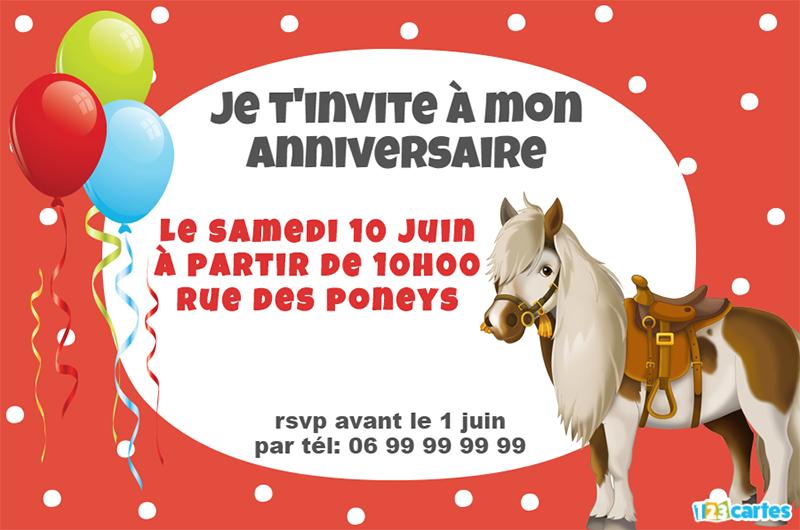 Carte anniversaire petit poney