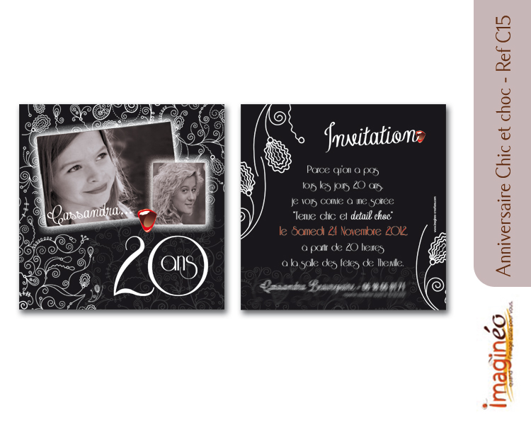 Carte d'invitation anniversaire 20 ans pas cher