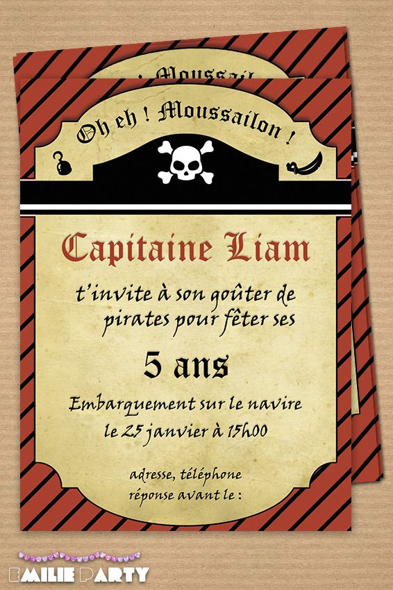 Invitation anniversaire pirate texte
