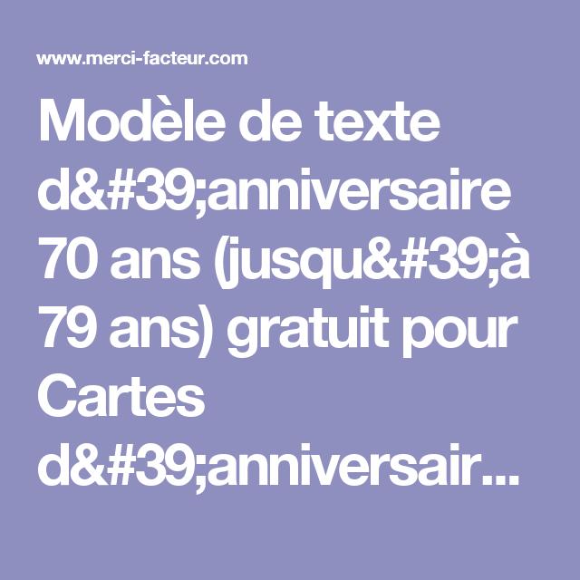 Texte pour anniversaire des 70 ans