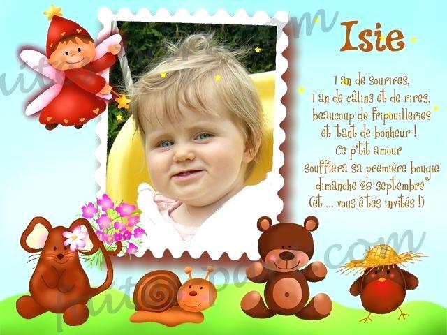 Texte pour carte invitation anniversaire 1 an
