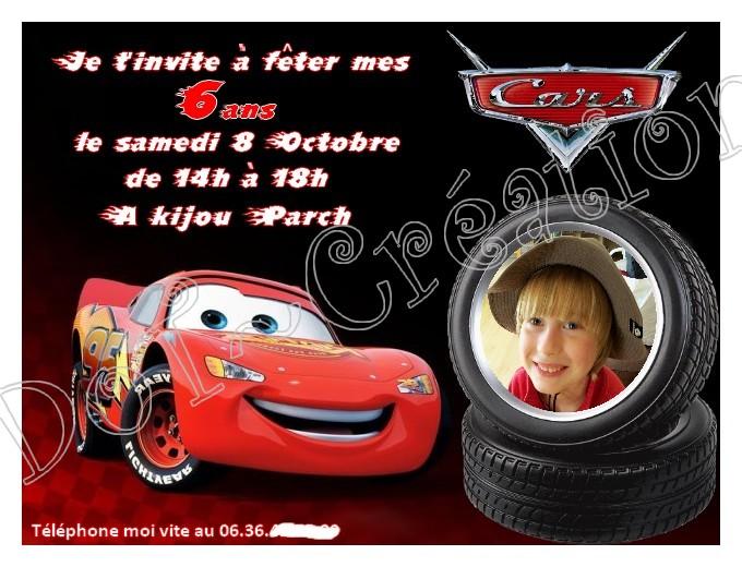 Carte invitation anniversaire cars gratuite à imprimer