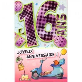 Carte anniversaire 16 ans garçon