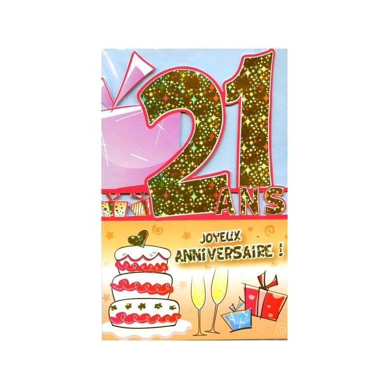 Image carte anniversaire 21 ans