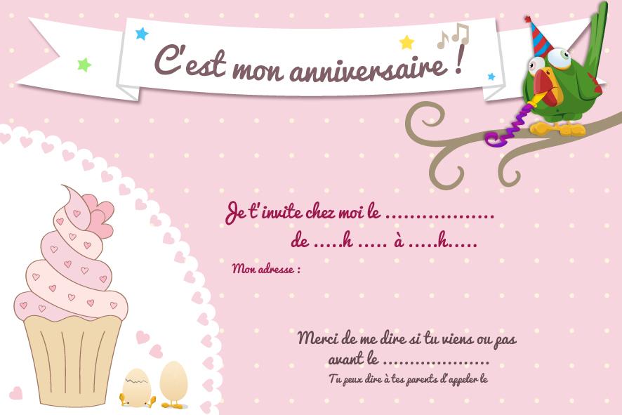 Carte d'invitation anniversaire fille 6 ans