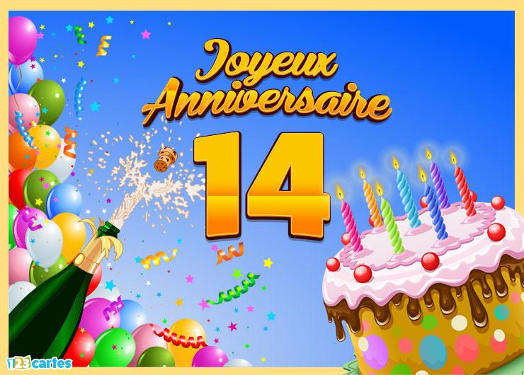 Carte anniversaire 14ans