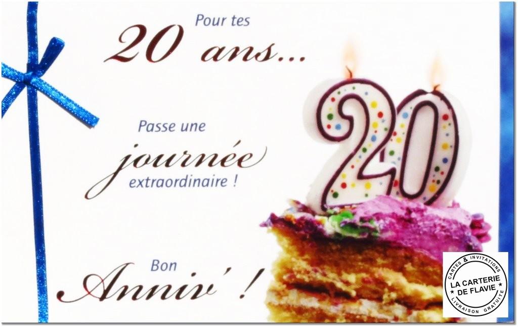 Carte anniversaire pour 20 ans gratuite