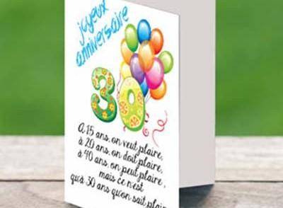 Carte anniversaire gratuite imprimer pour homme 30 ans